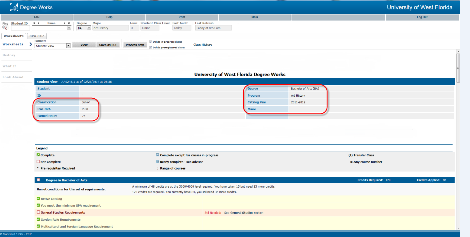 viewing a degree audit uwf public knowledge base uwf confluence screenshot of degree audit information