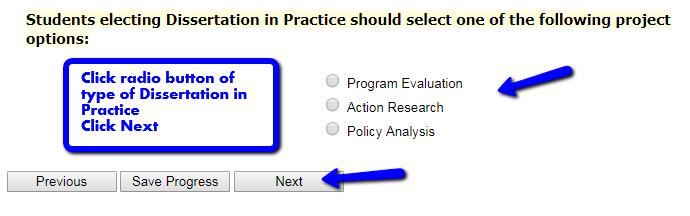 Dissertation research programme