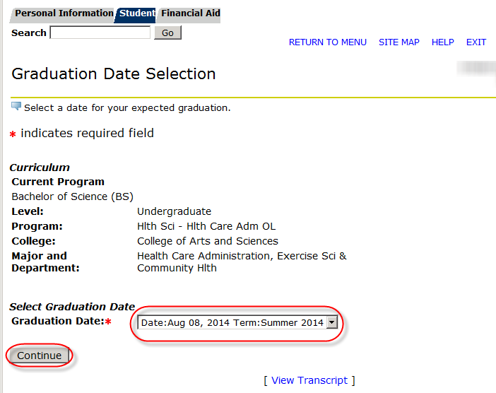 graduation dates drop down and continue buttons