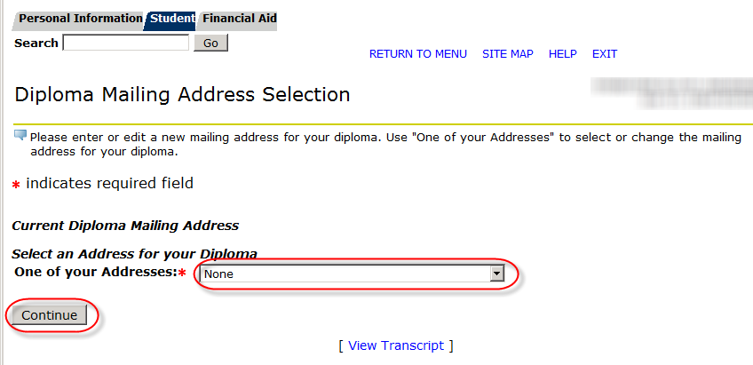 address drop down and continue button