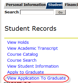 View application to graduate link