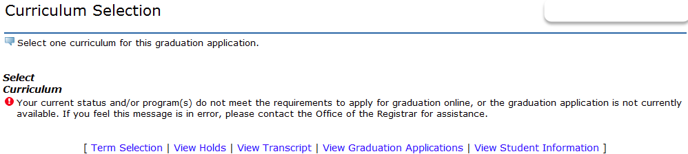 error message for graduation application