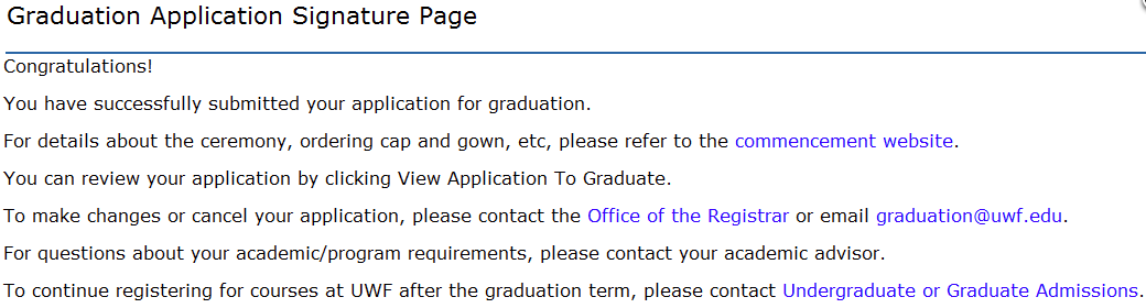 graduation application signature page
