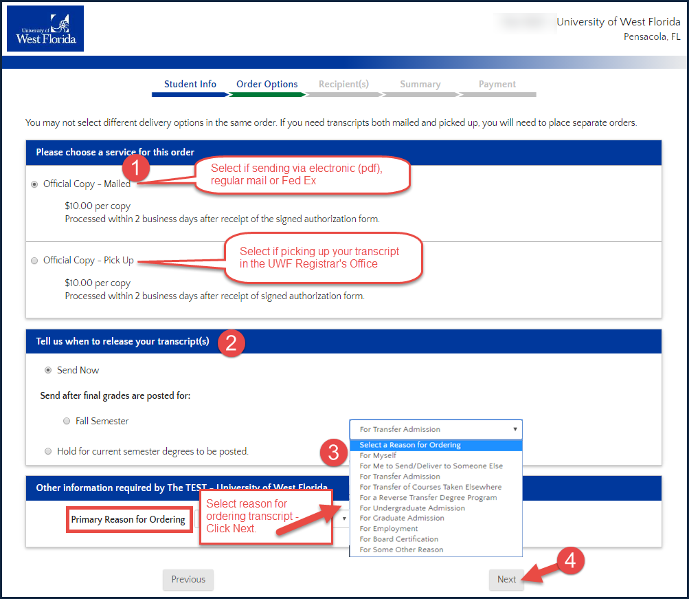 ordering an official uwf transcript uwf public knowledge base image of order options choose how transcript will be delivered to receiving party select