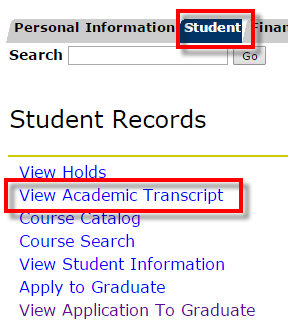 Student tab, View Academic Transcript link