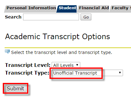 Transcript Type dropdown and Submit button