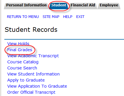 Student tab and Final Grades link