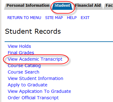 Student tab and View Academic Transcript link