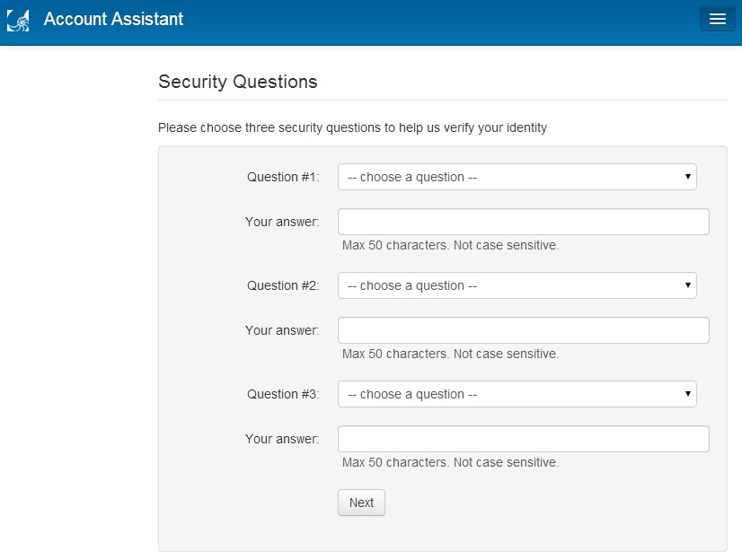 Choosing three security questions and answers