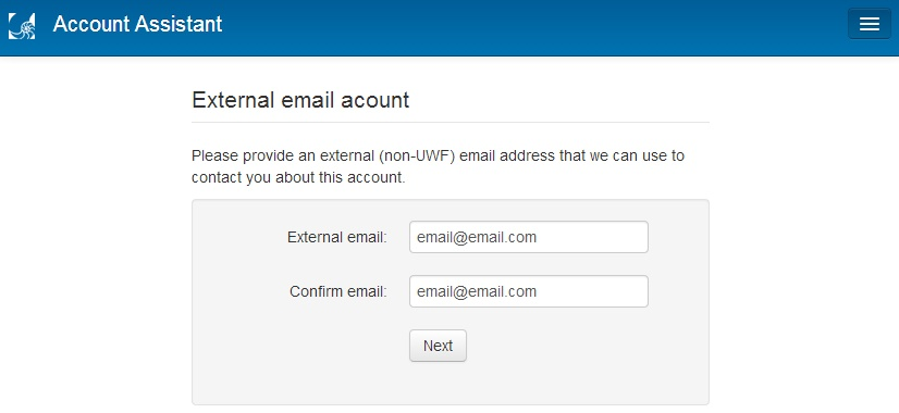 fields for confirming external email address