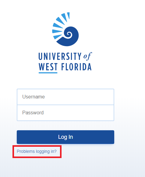 MyUWF log in screen