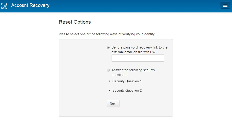 password reset options