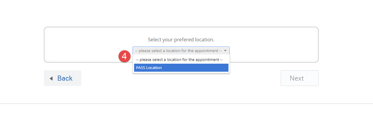 dropdown for Selecting a location