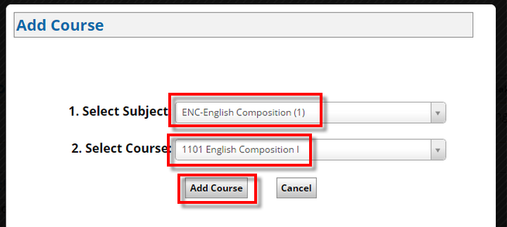 subject and course dropdown menus, Add Course button