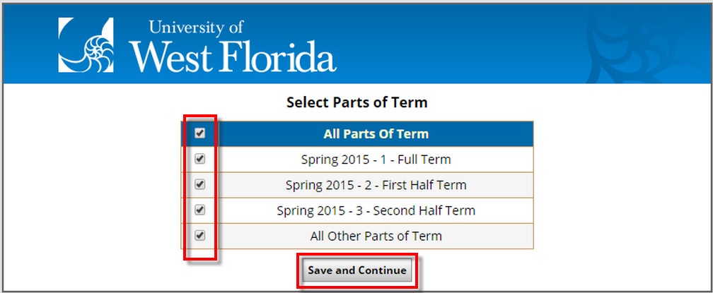 checkboxes for campuses, Save and Continue button
