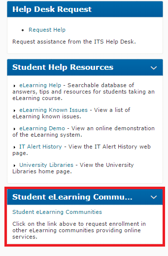 Student eLearning Communities