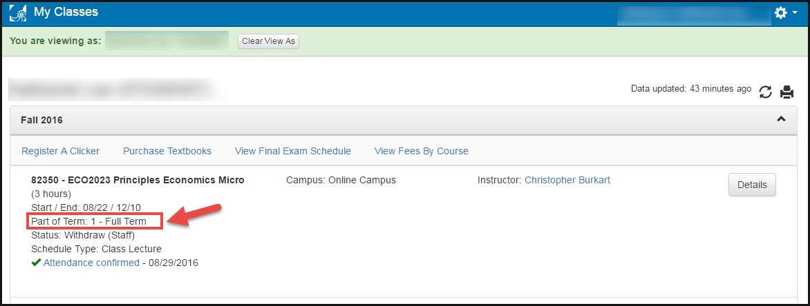 image of my classes app showing part of term information