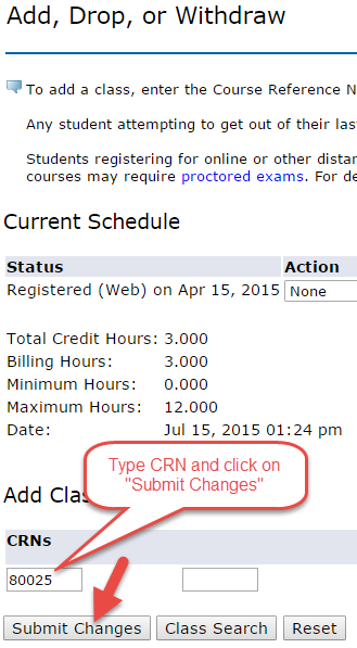 fields for CRNs, and Submit Changes button