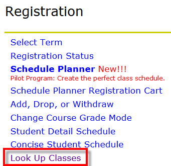 Registration menu in banner