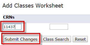 screenshot of Add Classes Worksheet