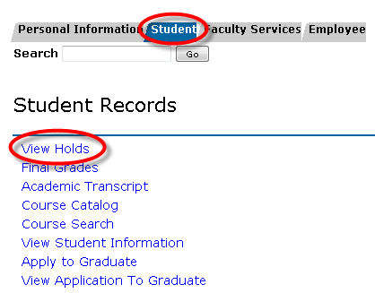 student tab and view holds link