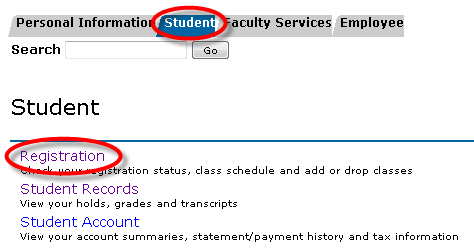 student tab and registration link