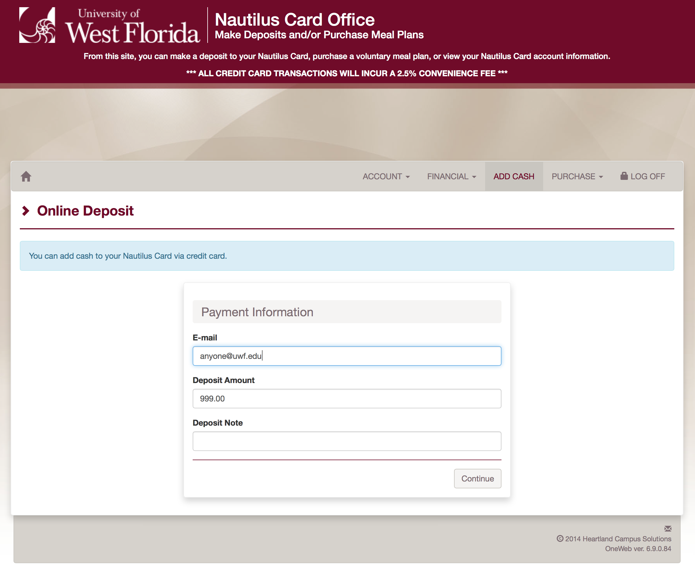 email, deposit amount, and deposit note fields