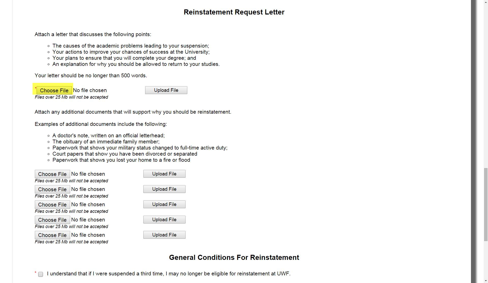 Reinstatement request from academic suspension - UWF Public ...
