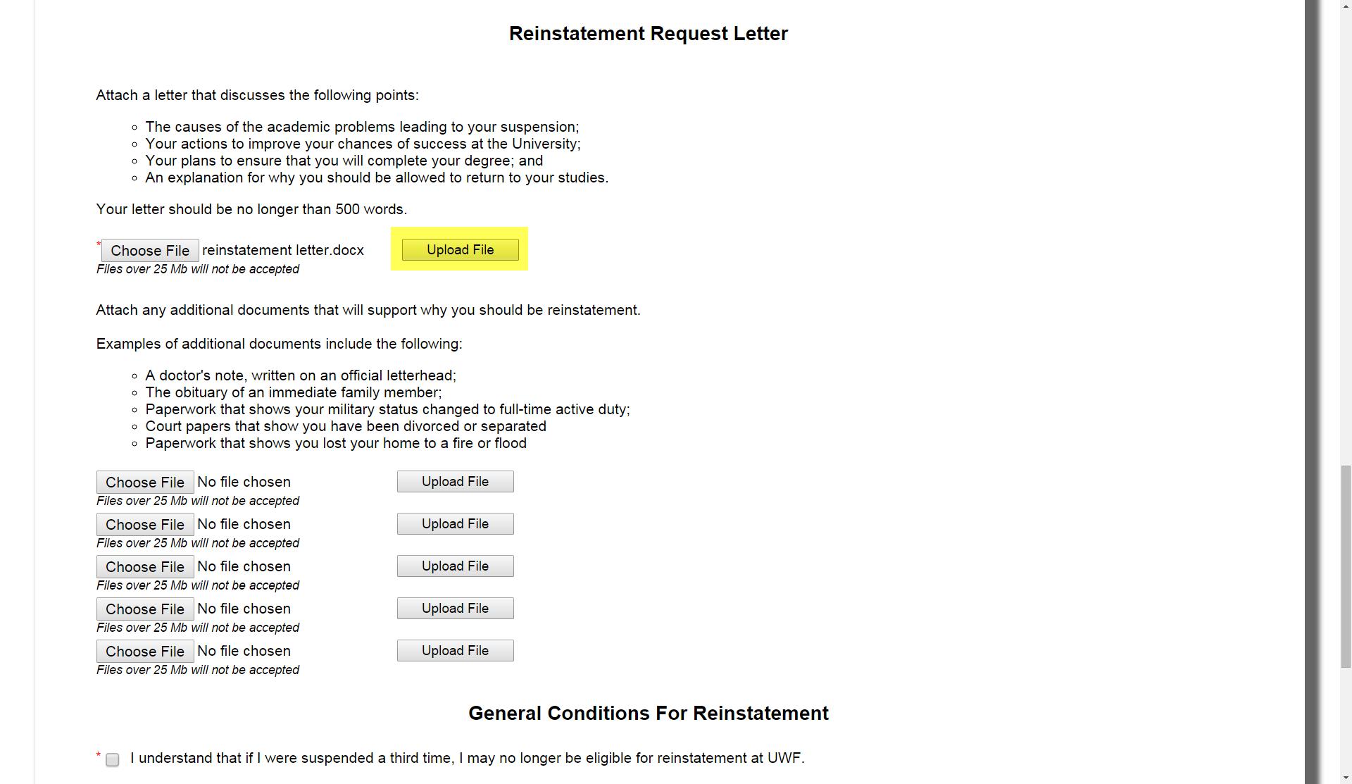 Reinstatement request from academic suspension uwf public upload file button altavistaventures Choice Image