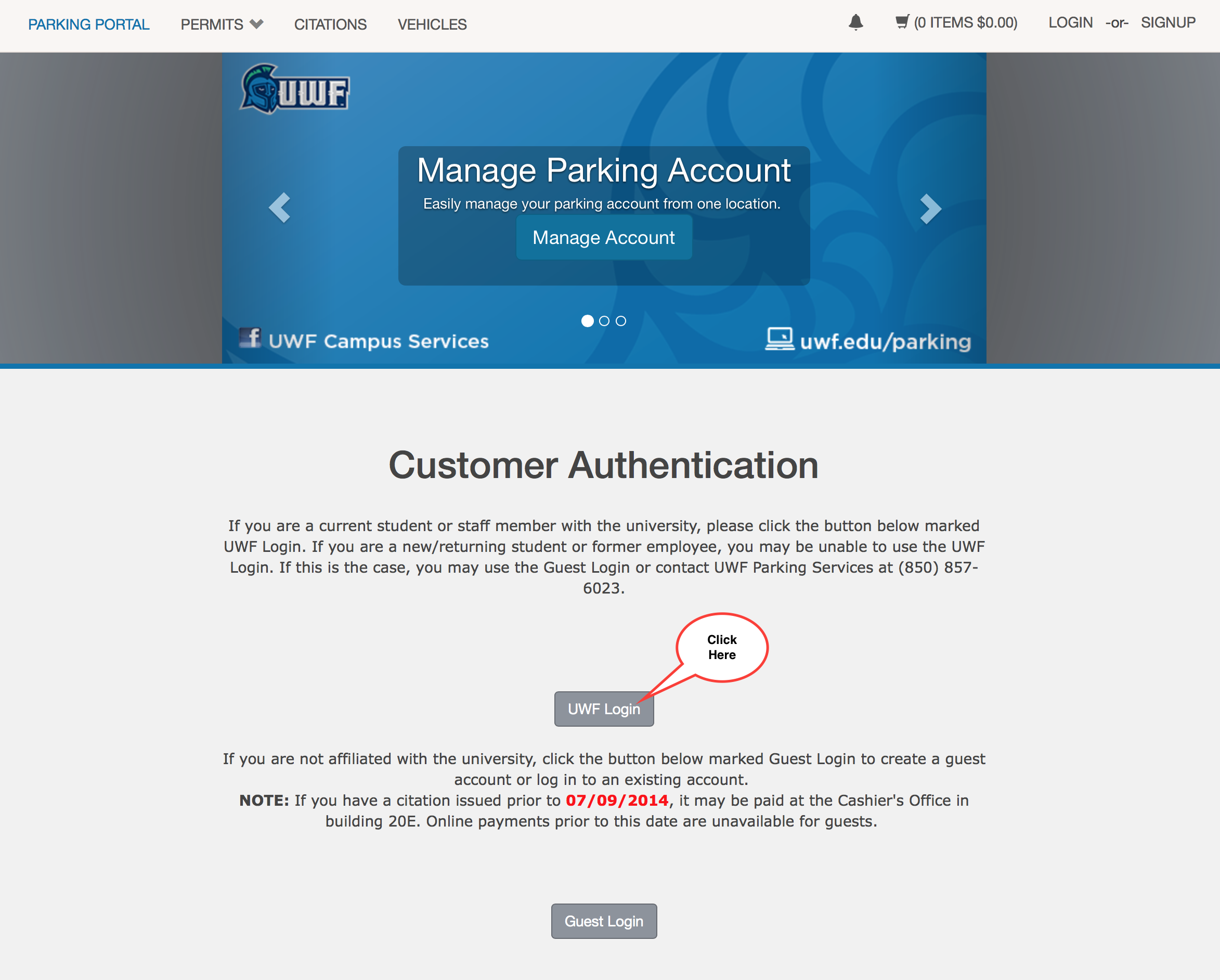 UWF Login button