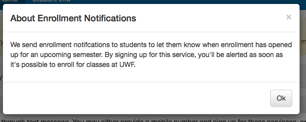 image of About Enrollment Notifications tab in the Contact and Privacy Information app