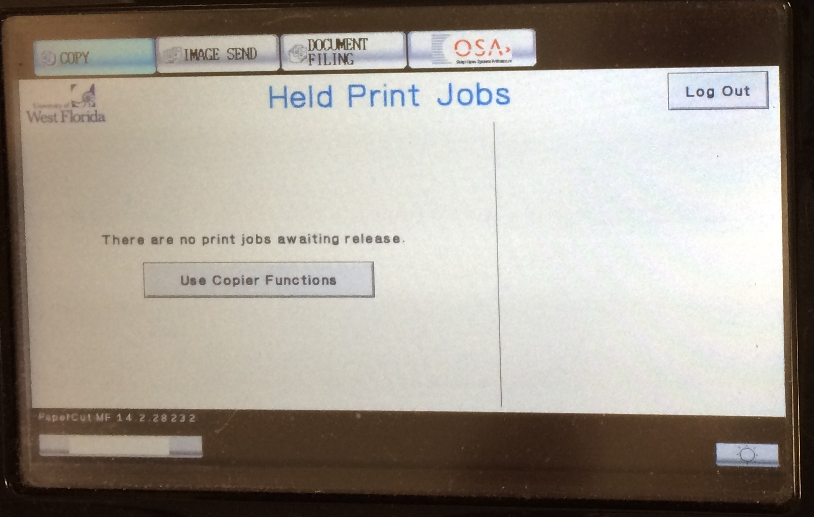 held print jobs screen with no current print jobs