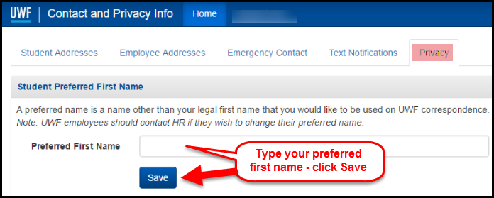 image displaying box to type preferred first name and click save in contact and privacy information app