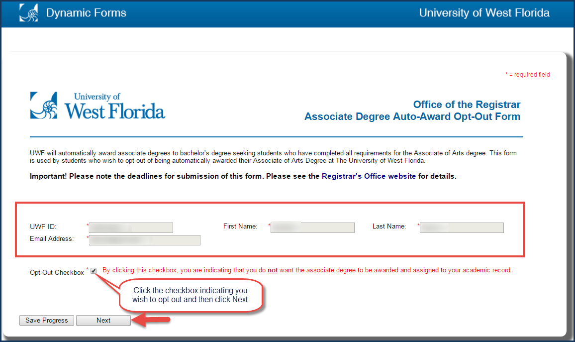 Image of A.A. Degree Auto Award Opt Out dynamic form