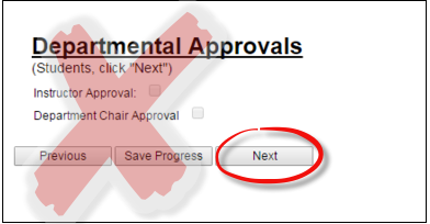 Image of departmental approvals page in variable credit hour registration form