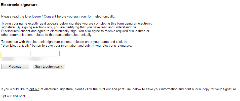 Image of electronic signature page in variable credit hour form