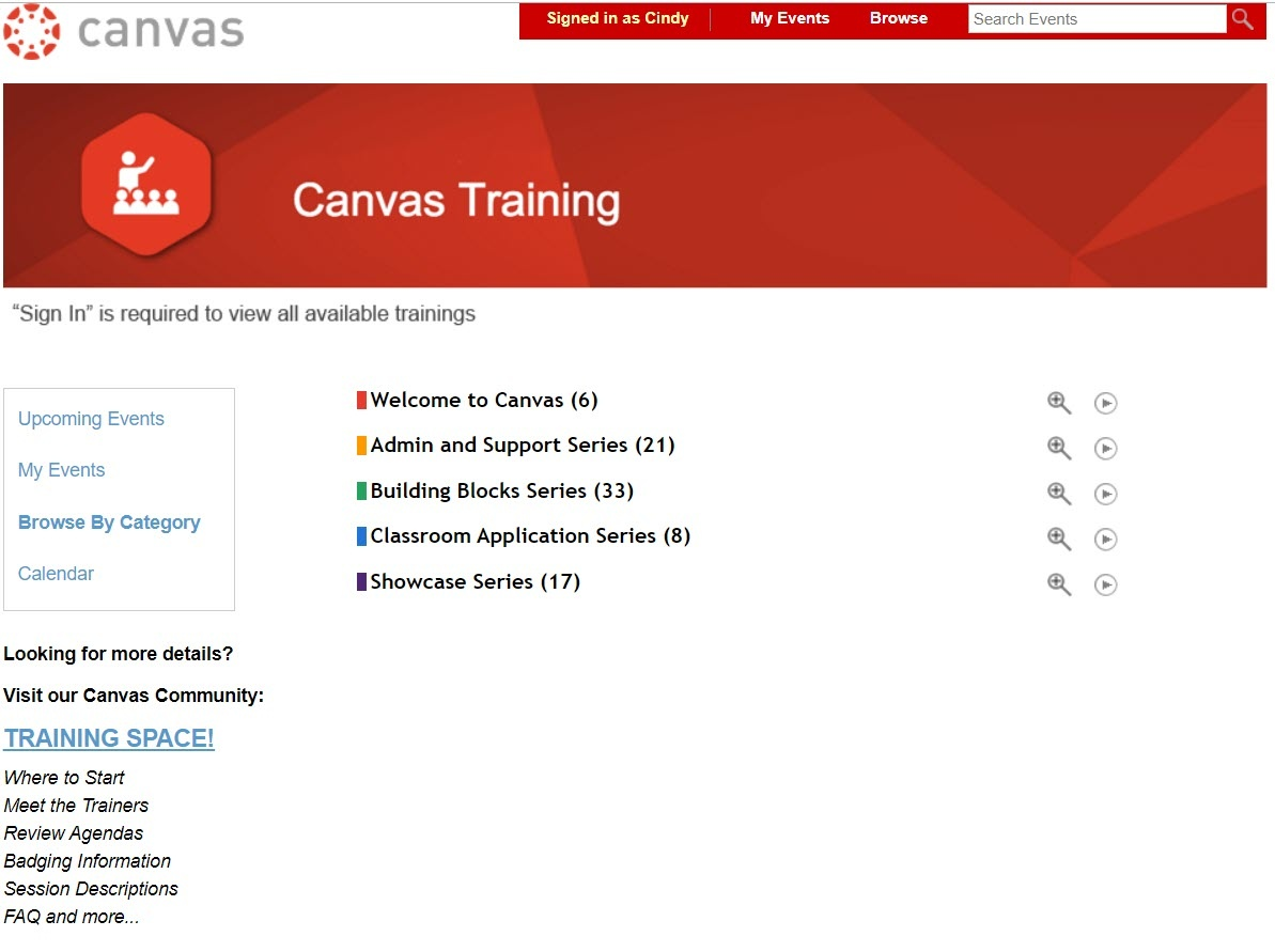 Canvas Training webpage
