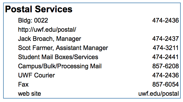 list of postal services phone numbers