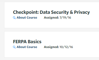 Data security and FERPA Basics modules