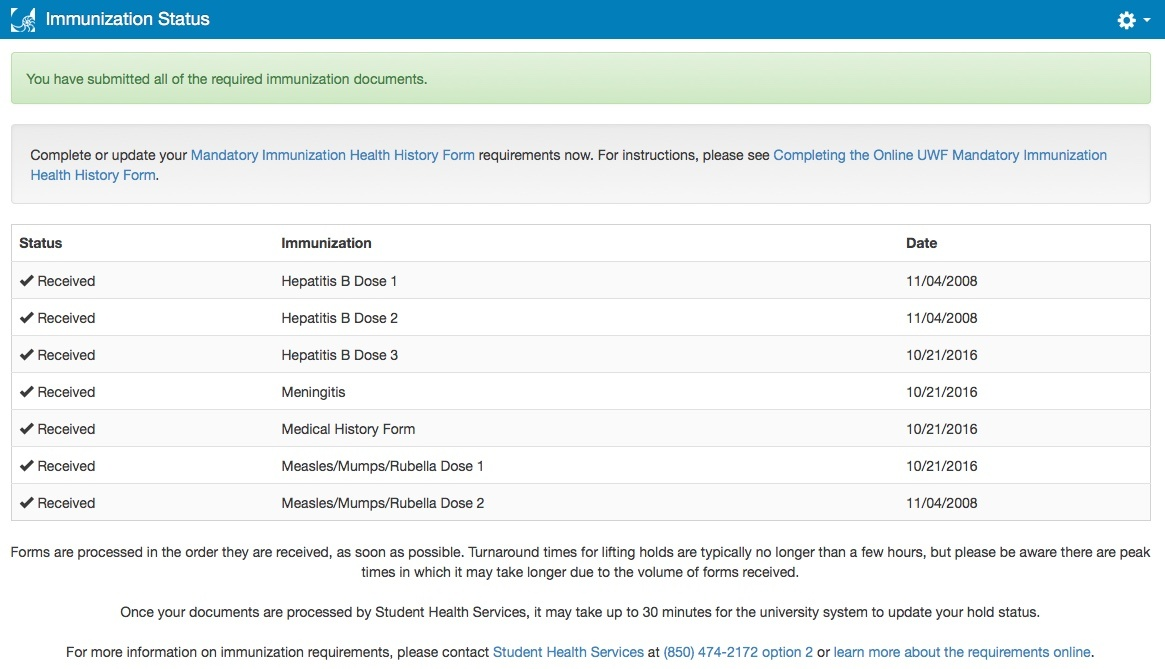 waiving immunization requirements via myuwf for online students