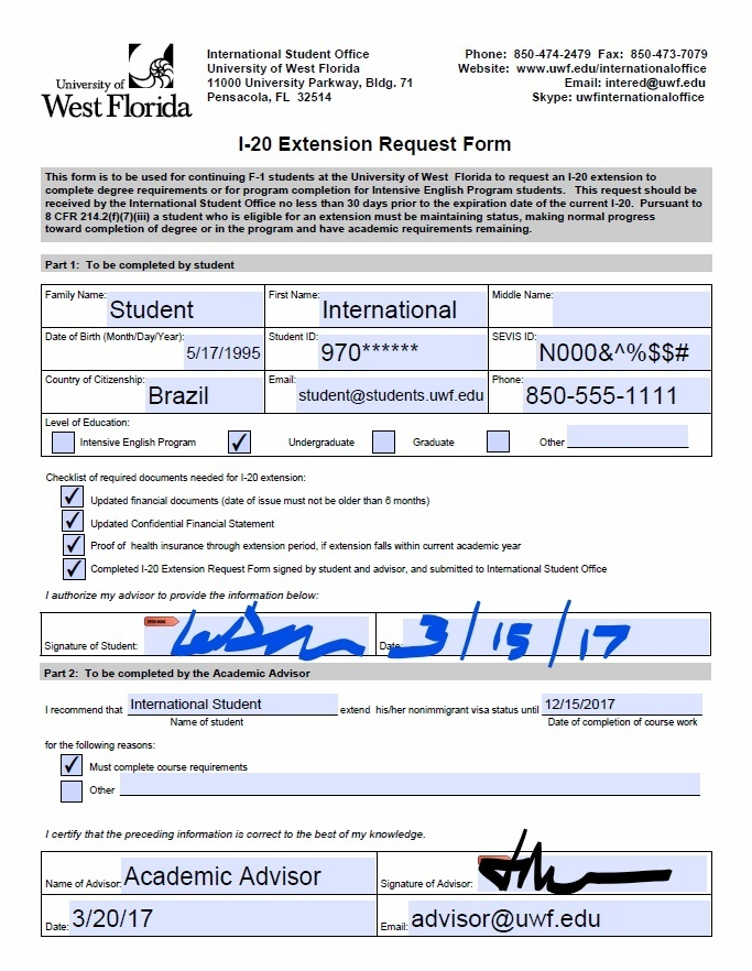 Requesting A Form I-20 Extension - Uwf Public Knowledge Base - Uwf
