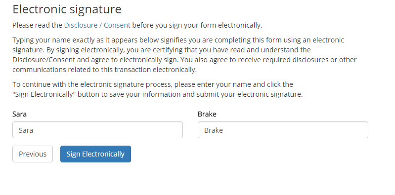 signing the form electronically