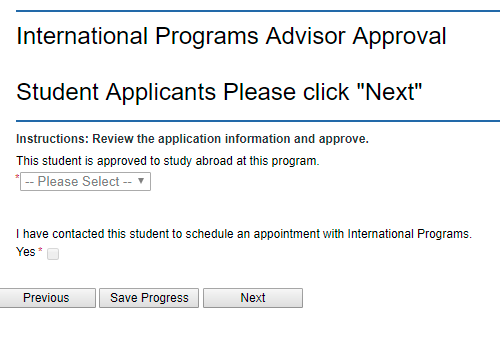 International Programs Advisor Approval section