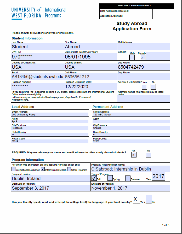 page one of application