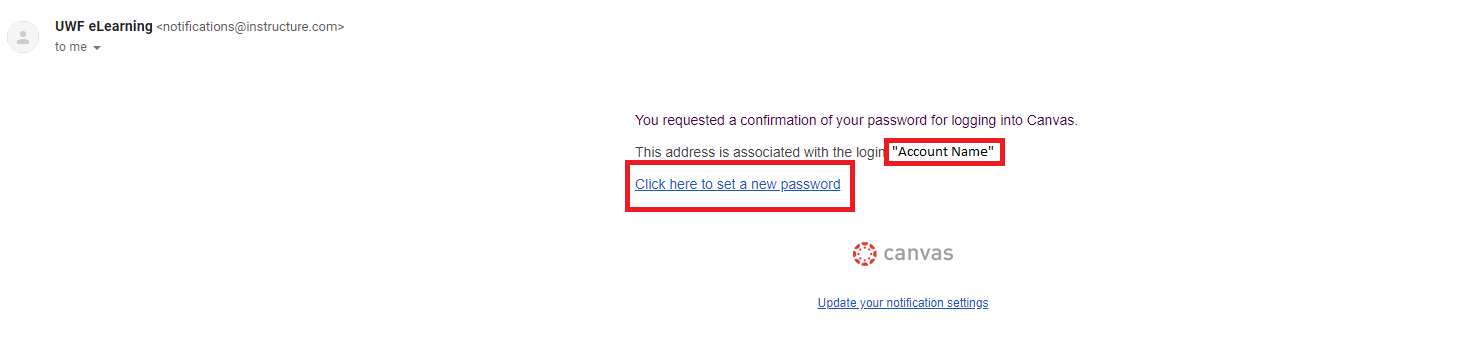 link to change password