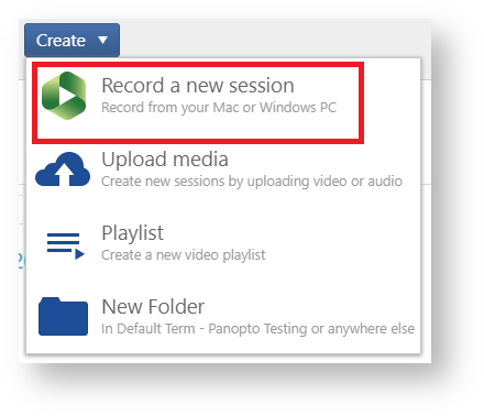 Record a new session option