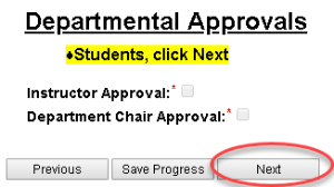 departmental approvals page in variable credit hour registration form